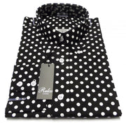 Relco White/Navy Polka dot Cotton