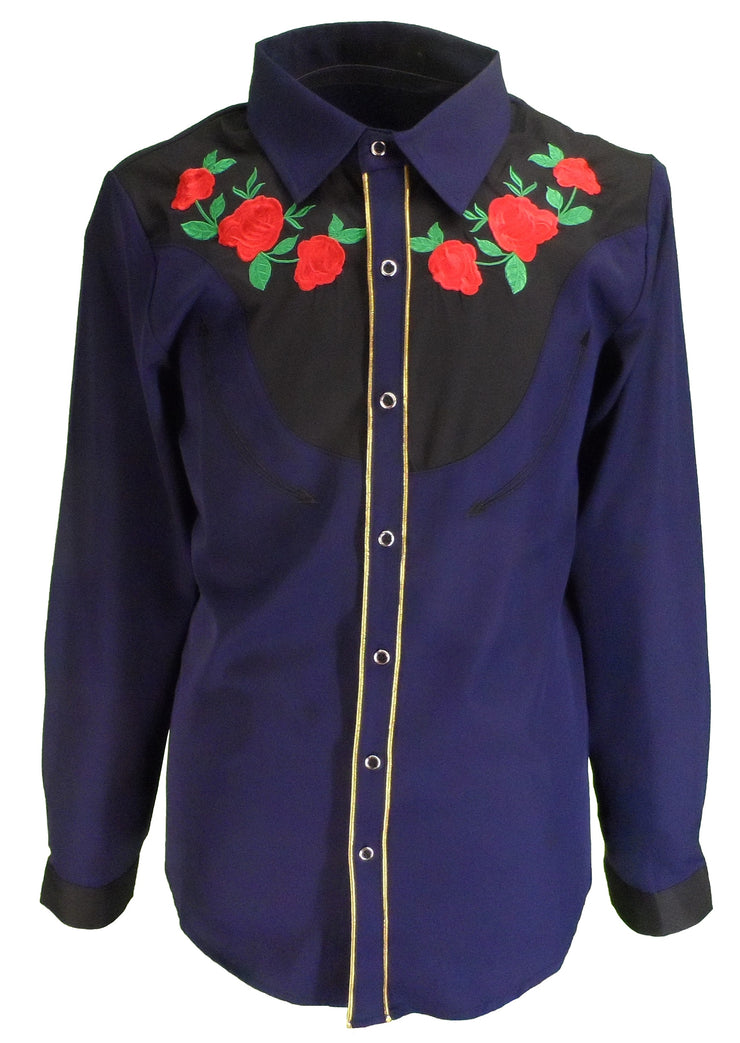 Mazeys Mens Navy Blue Western Rose Cowboy Vintage/Retro Shirts