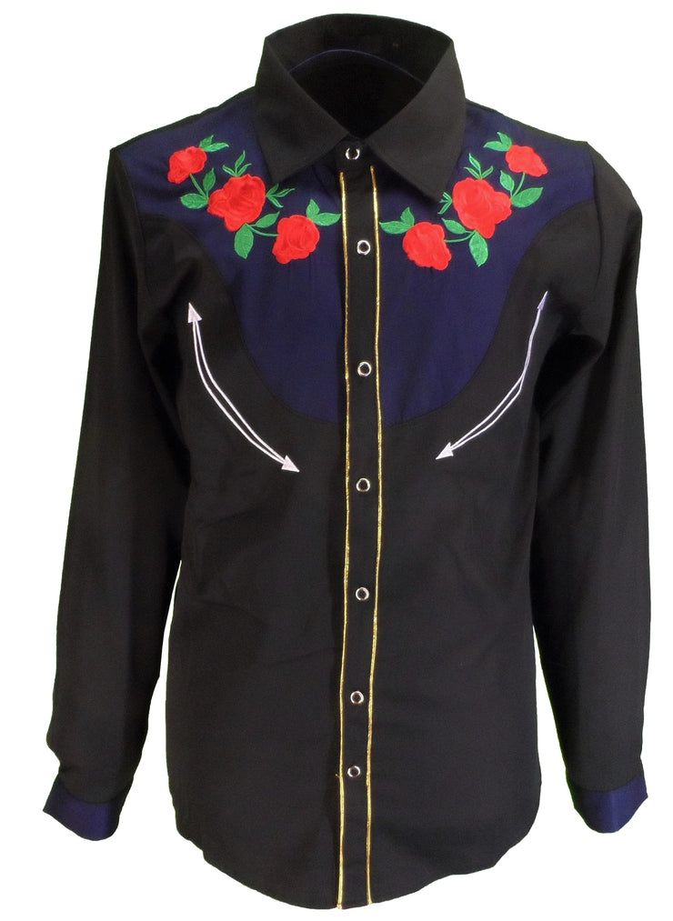 Mazeys Mens Black Western Rose Cowboy Vintage/Retro Shirts