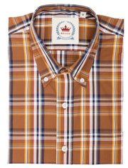 Relco Mens Brown Checked Short Sleeved Button Down Shirts