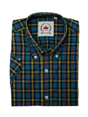 Relco Mens Petrol Blue Checked Short Sleeved Button Down Shirts