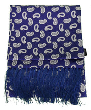 Knightsbridge Mens Navy Paisley 100% Silk Aviator Scarf