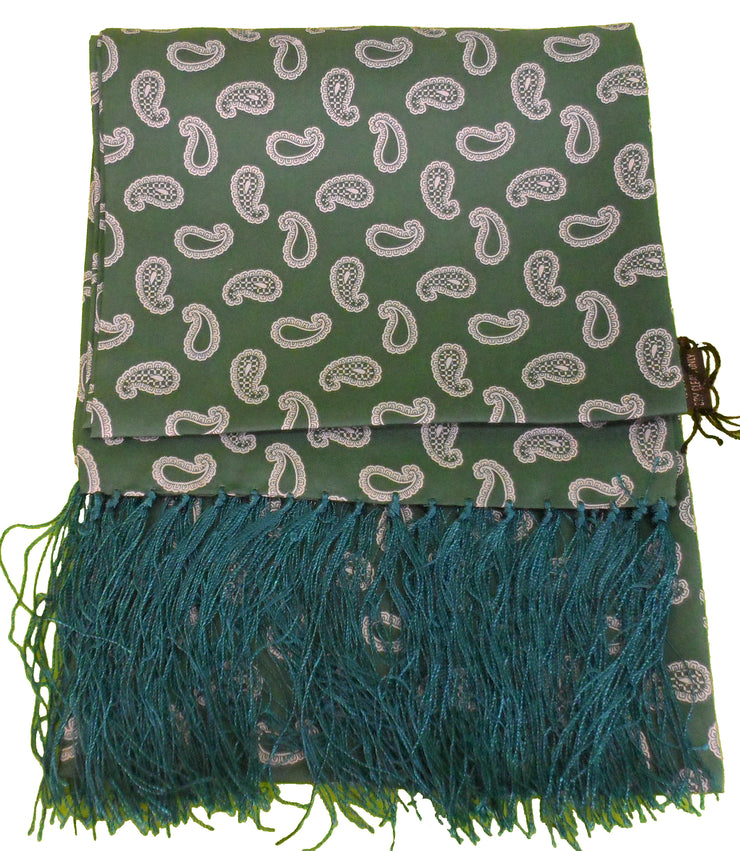 Knightsbridge Mens Green Paisley 100% Silk Aviator Scarf
