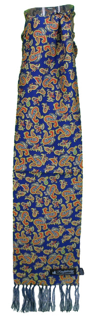 Knightsbridge Mens Navy/Gold Paisley 100% Silk Aviator Scarf
