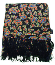 Knightsbridge Mens Black Paisley 100% Silk Aviator Scarf