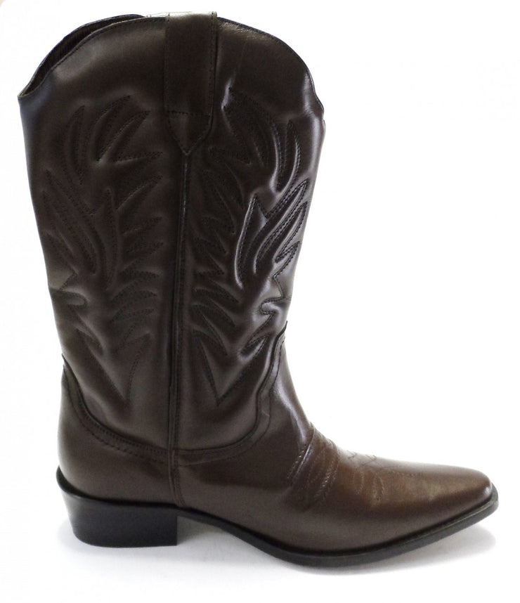 High Leg Leather Brown Western Cowboy Harness Boots