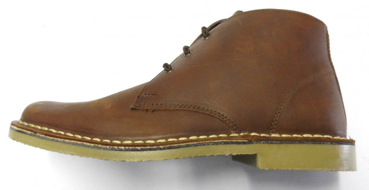 ROAMERS BROWN WAXY LEATHER 3 EYELET RETRO MOD STYLE REAL DESERT BOOTS