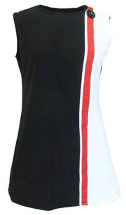 LHM Ladies 60s Retro Mod Vintage Black/White/Red Mini Dress