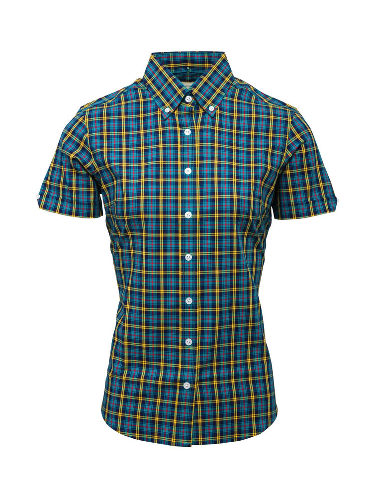 Relco Ladies Petrol Blue Button Down Short Sleeved Shirts