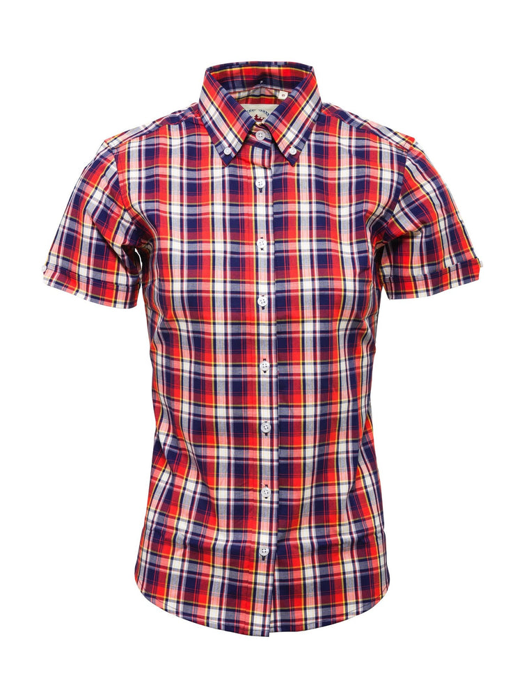Relco Ladies Navy/Red Button Down Short Sleeved Shirts