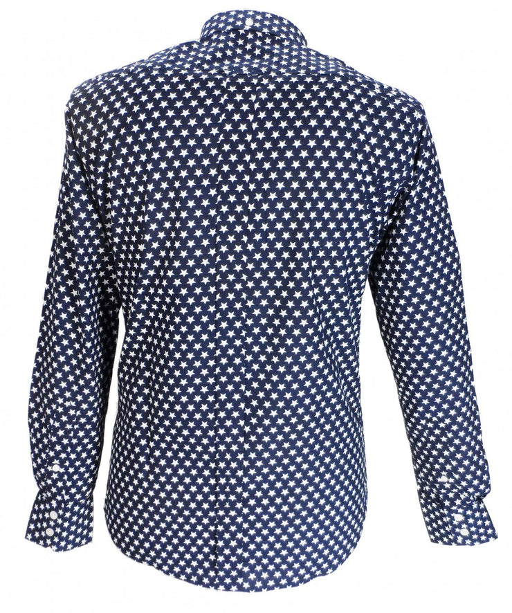 Relco Navy Star Cotton Long Sleeved Retro Mod Button Down Shirts