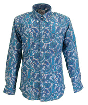 Relco Mens Turquoise Paisley Long Sleeved Retro Mod Button Down Shirt