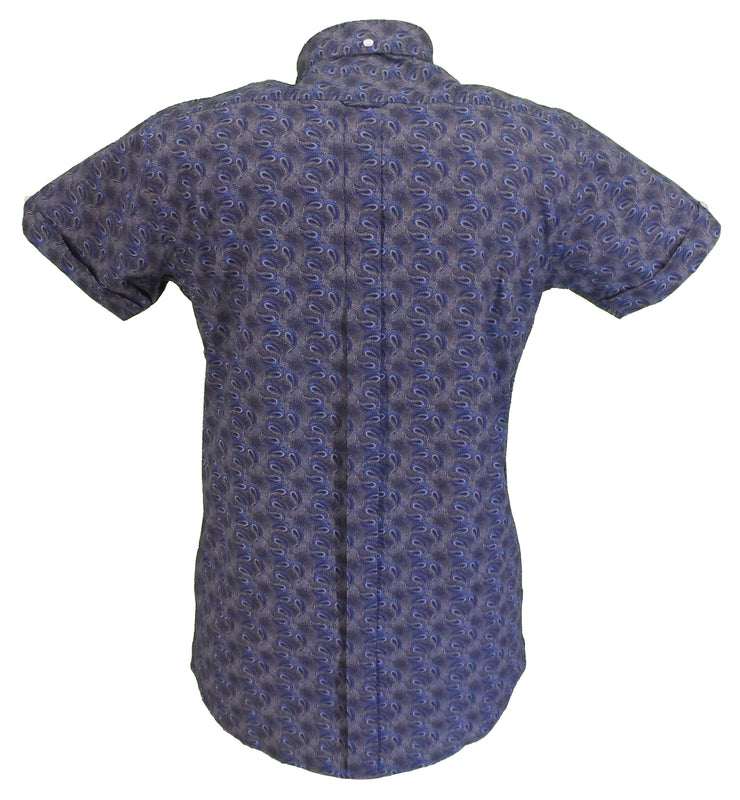 Relco Mens Navy Paisley Short Sleeved Retro Mod Button Down Shirt