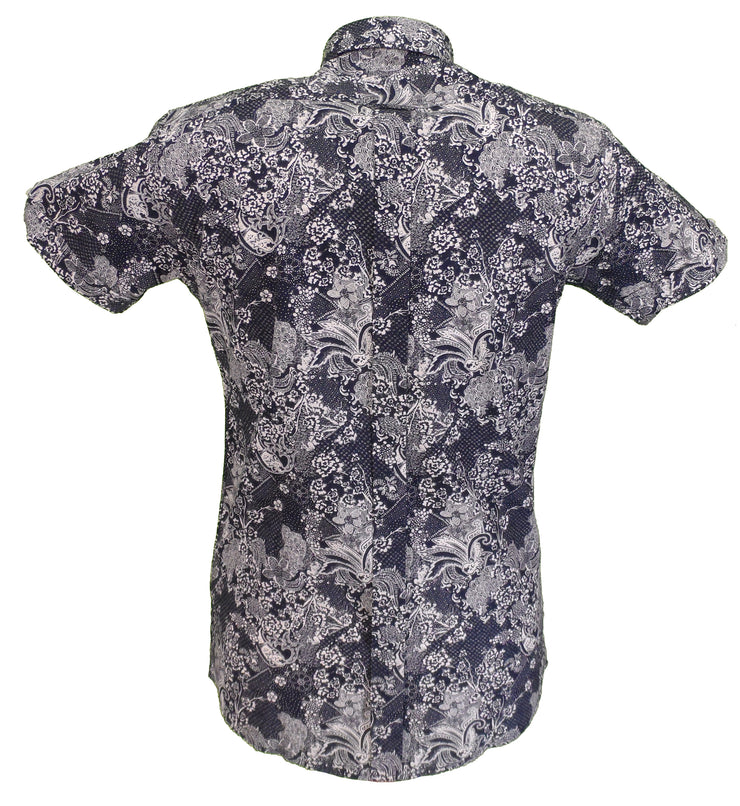 Relco Mens Navy/White Paisley Short Sleeved Retro Mod Button Down Shirt