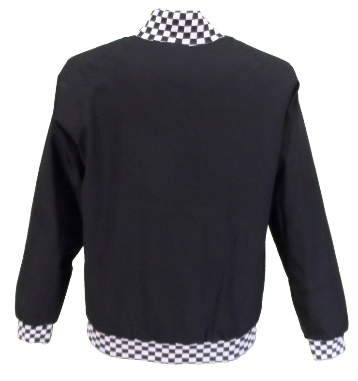 Mens Black Checkerboard Classic Harrington Monkey Jacket