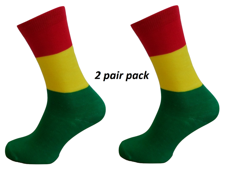 Mens 2 Pair Pack of Rasta Striped Retro Socks