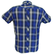 Trojan Mens Retro Navy Check 100% Cotton Short Sleeved Shirts