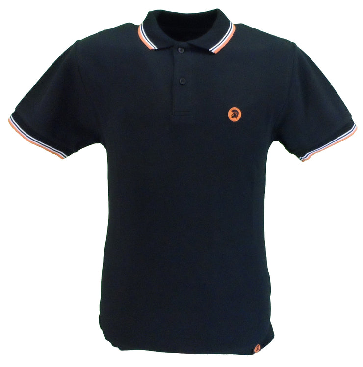 Trojan Records Mens Black Orange White Tipped Polo Shirt