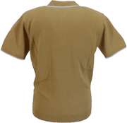 Gabicci Vintage Mens Sand Brown Lineker Short Sleeve Knitted Polo Shirt