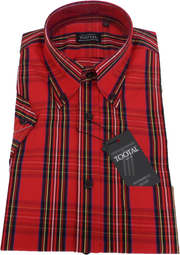 Tootal Mens Red Tartan Checked 100% Cotton Retro Down Short Sleeve Shirts