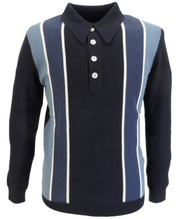 Ska & Soul Mens Navy Retro Spear-Point Knitted Polo Shirt
