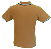 Trojan Records Mens Golden Tan Badged Classic Retro Polo Shirt