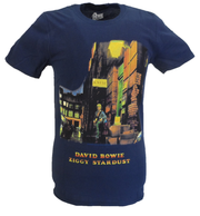 Mens Official Licensed David Bowie Ziggy Stardust Navy T Shirt