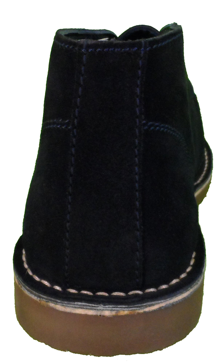 Roamers Mens Navy 2 Eyelet Sharp Toe Retro MOD Style Real Suede Desert Boots