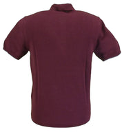 Ben Sherman Wine Striped Retro Knitted Polo Shirt