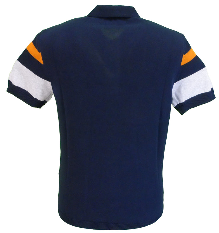 Ben Sherman Navy Knitted Striped Retro Polo Shirt