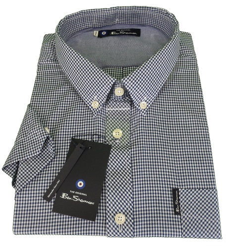 Ben Sherman Denim Gingham Tab Check Short Sleeved Shirts