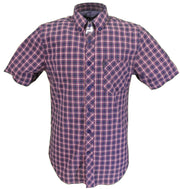 Ben Sherman Mens Indigo Check Short Sleeved 100% Cotton Shirts