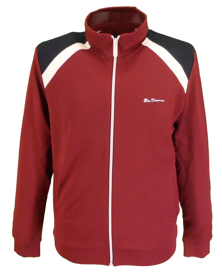 Ben Sherman Burgundy Tri Striped Retro Track Top/Jacket