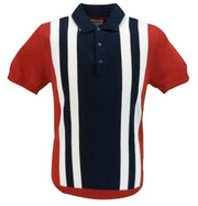 Ben Sherman Red Knitted Striped Retro Polo Shirt