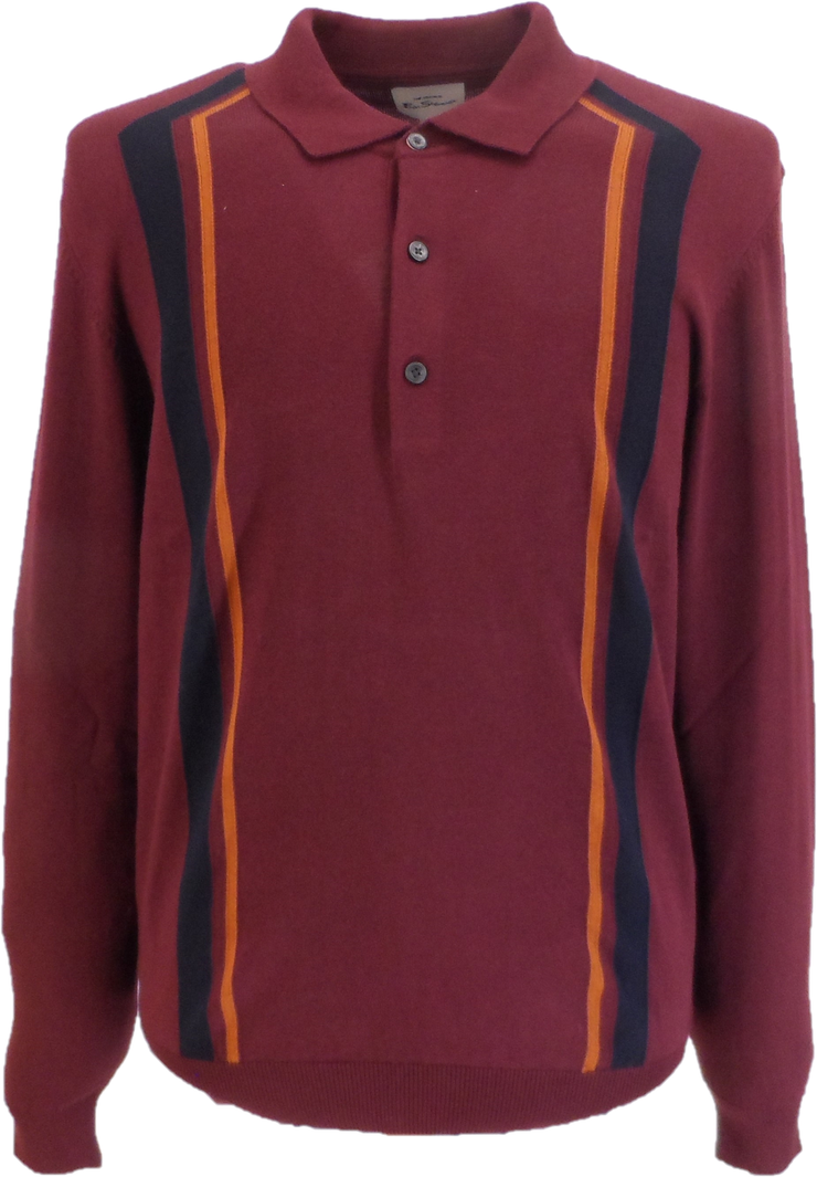 Ben Sherman Port Knitted Striped Long Sleeved Polo Shirt