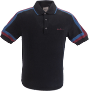 Ben Sherman Black Knitted Striped Retro Polo Shirt
