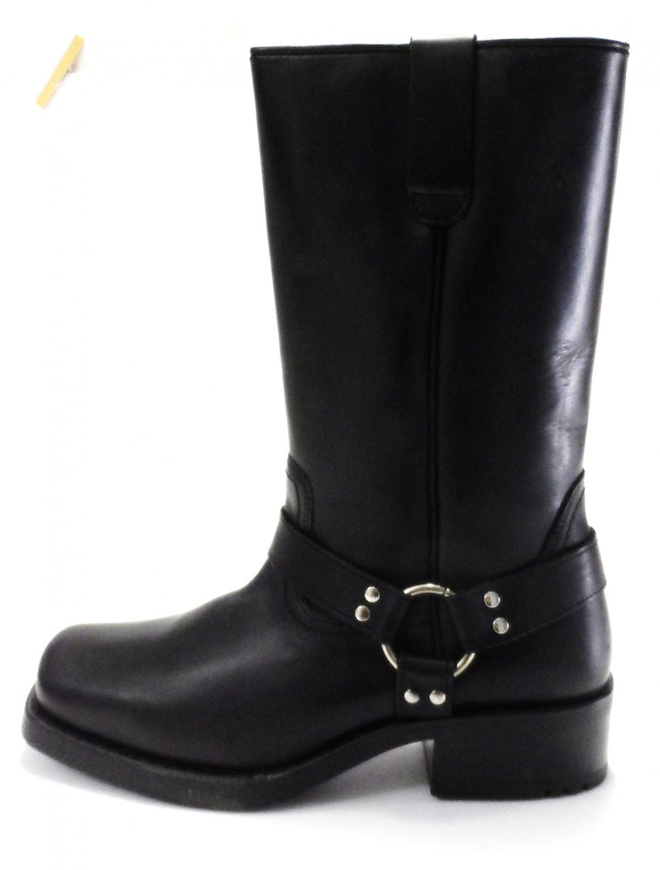 Black High Leg Biker Style Waxy Leather Boots