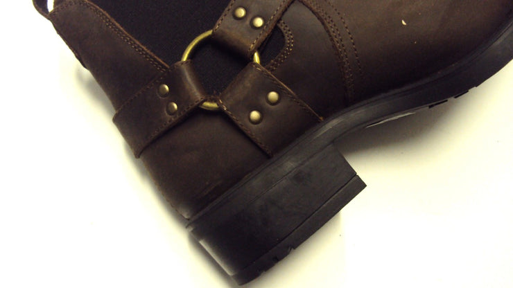 Brown Biker Style Waxy Leather Boots