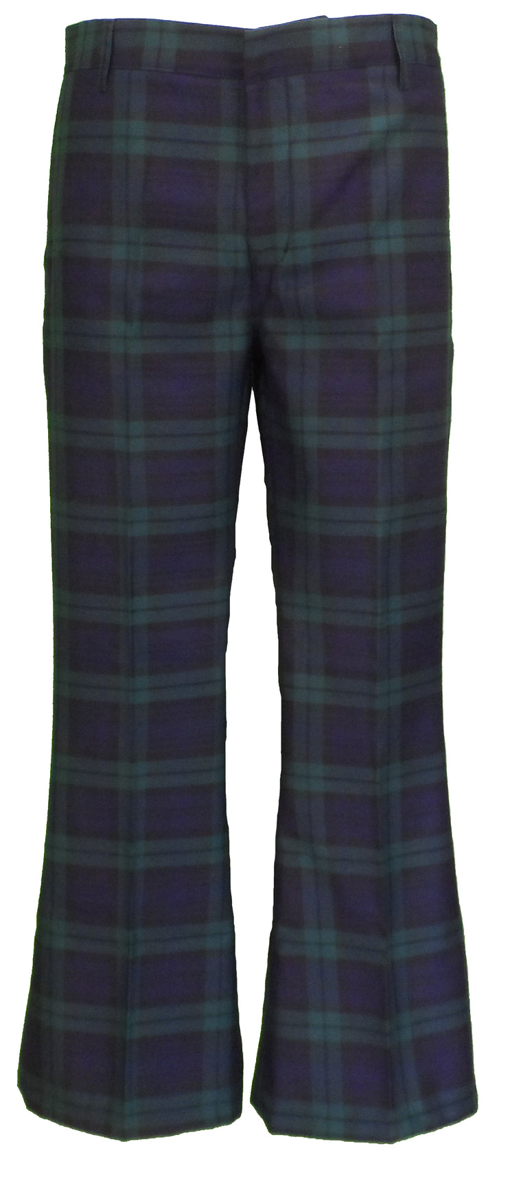 Run & Fly Mens 60s 70s Retro Checked Blackwatch Tartan Bell Bottom Trousers