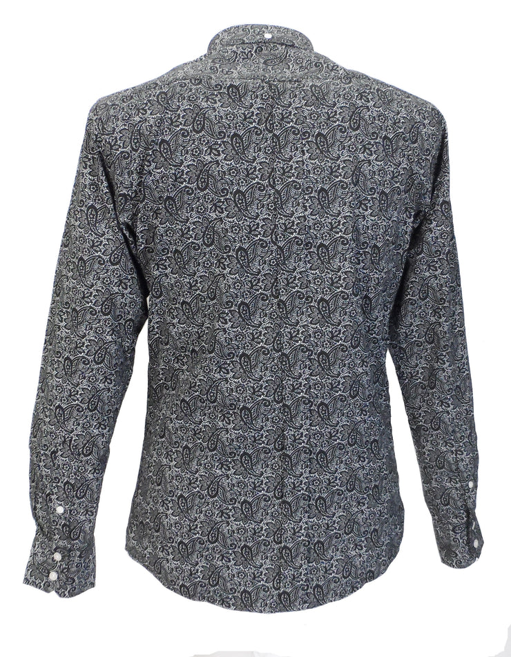 Relco Black Paisley Cotton Long Sleeved Retro Mod Button Down Shirts