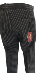 Pinstriped Black 60S 70S Retro Mod Vintage Sta Press Trousers