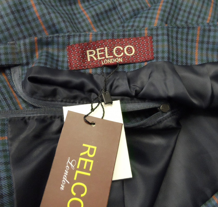 Relco Ladies Retro Rude Girl Blue Tweed Pencil Skirt