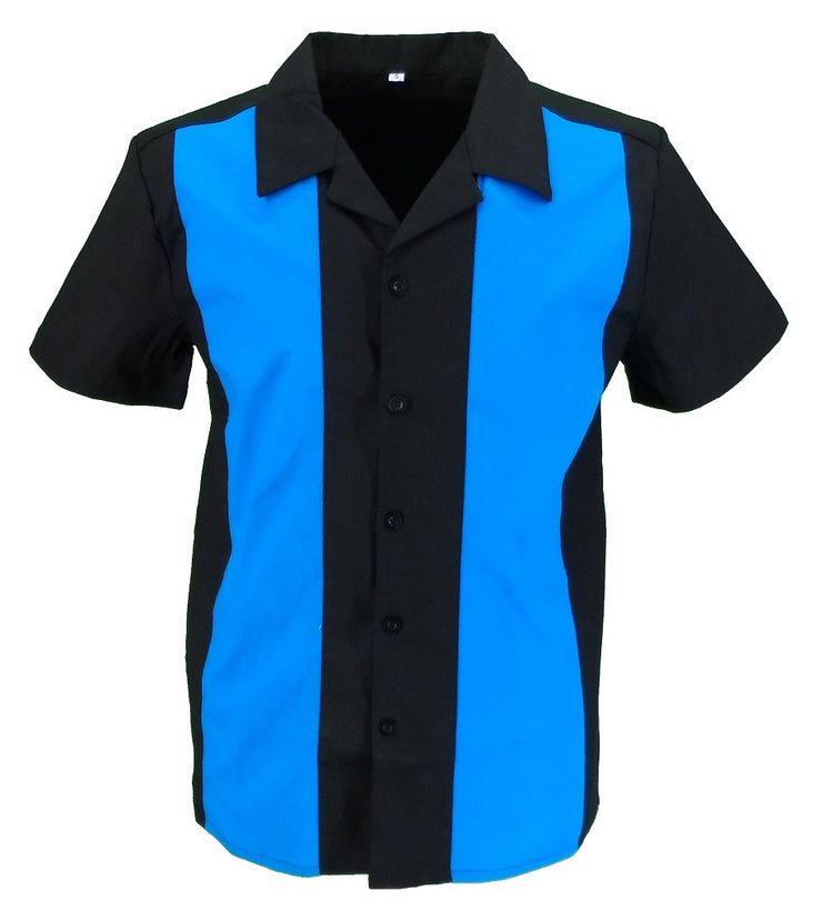 Mazeys Retro Black/Blue Rockabilly Bowling Shirts
