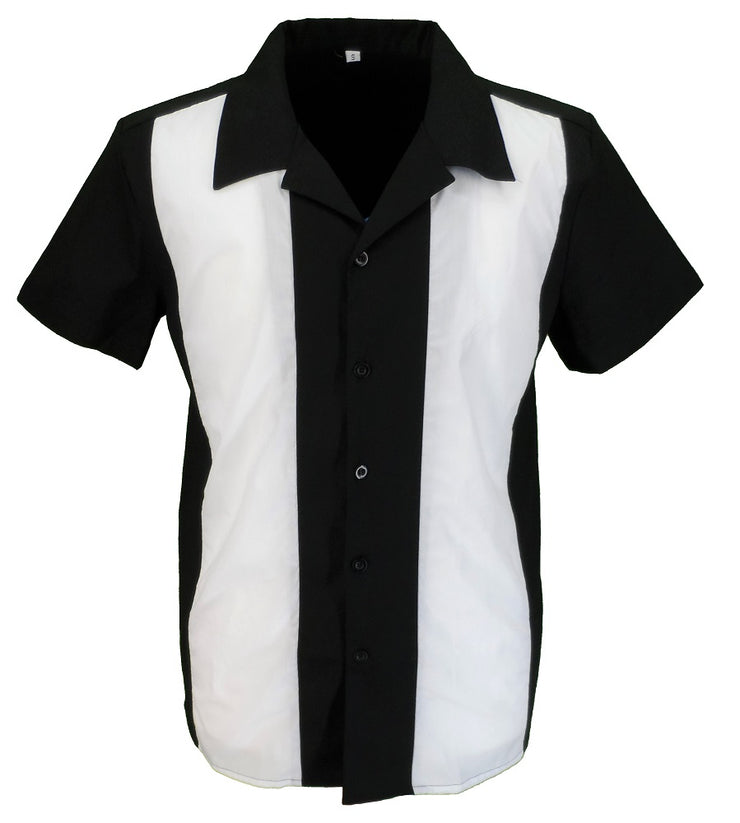 Mazeys Retro Black/White Rockabilly Bowling Shirts