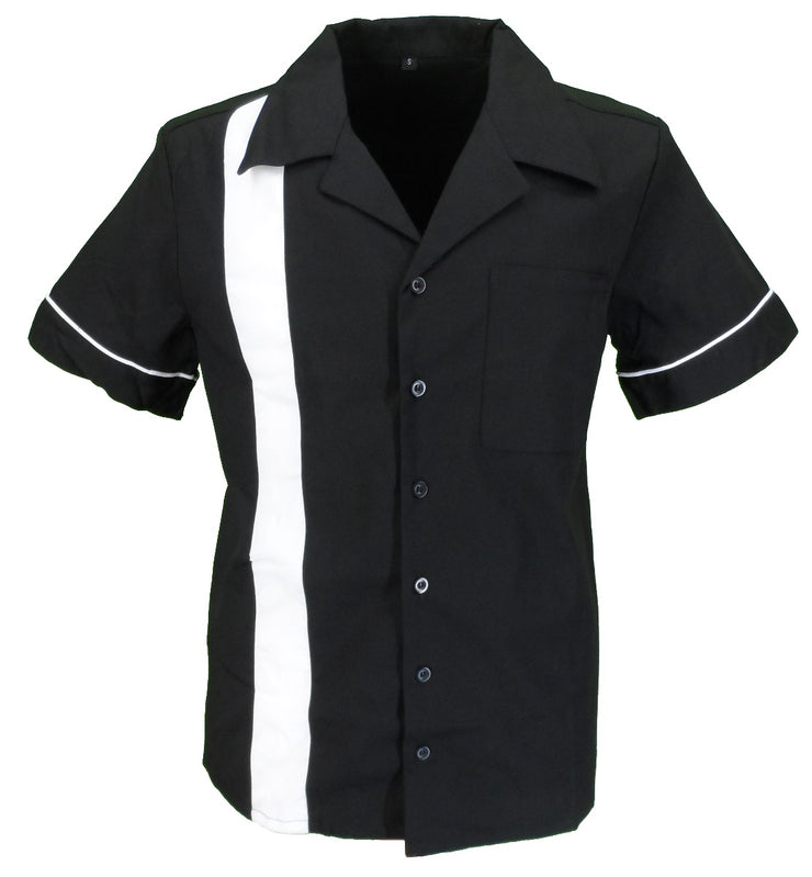 Mazeys Retro Black/White 1 Stripe Rockabilly Bowling Shirts