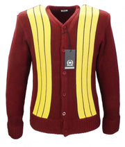 Relco Classic Retro Striped Heavy Knit Burgundy CARDIGAN