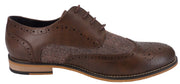 House of Cavani Mens Brown Herringbone Brogue Shoes