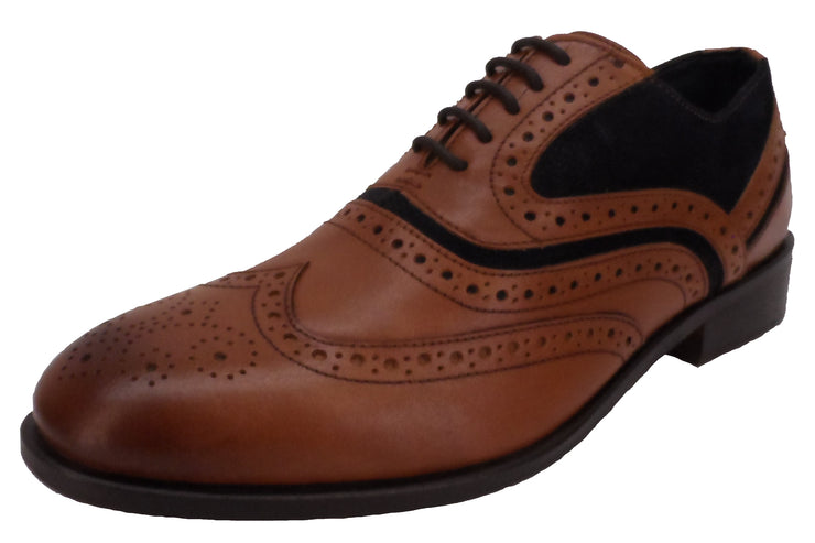 House of Cavani Mens Tan & Navy Leather Brogues Shoes