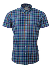 Relco Mens Multi Checked Short Sleeved Button Down Shirts