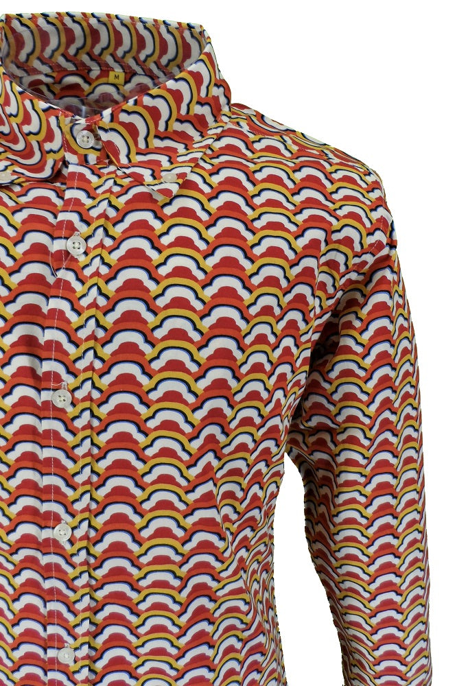 Mens 60s 70s Retro Mod Pop Art Psychedelic Multi Cloud Print Shirt …